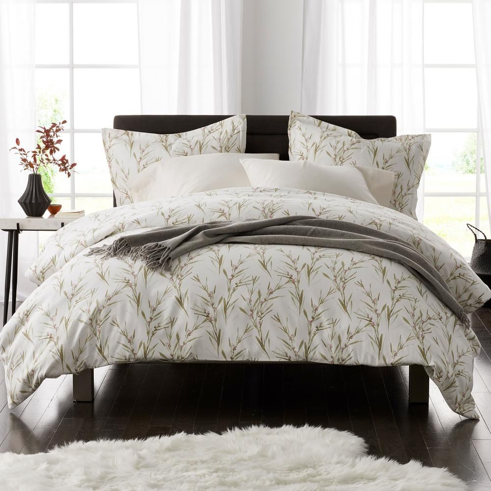 The Company Store Grass Flower Flannel Queen Duvet Cover
