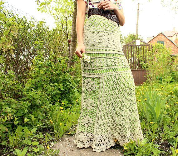 Summer maxi skirt beige long crochet skirt for summer crochet knitted from 100% cotton natural crochet skirt maxi girl skirt