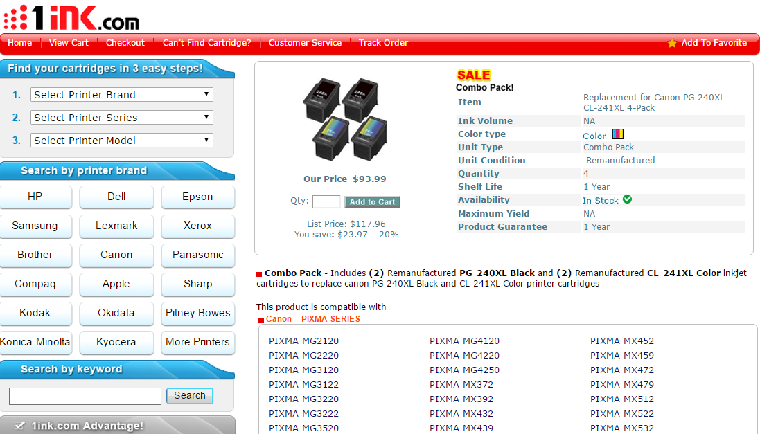 Save 20 Off On Canon Pg 240xl And Cl 241xl Printer Cartridge At 1ink Com Printer Cartridge Coupons Printer