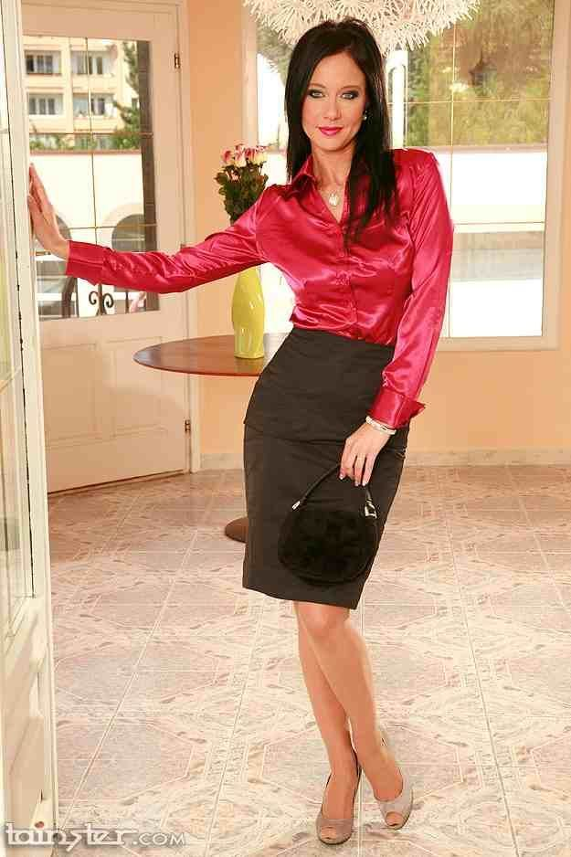 2c4e7e9939 Black Satin Pencil Skirt Red Satin Blouse and Beige High Heels