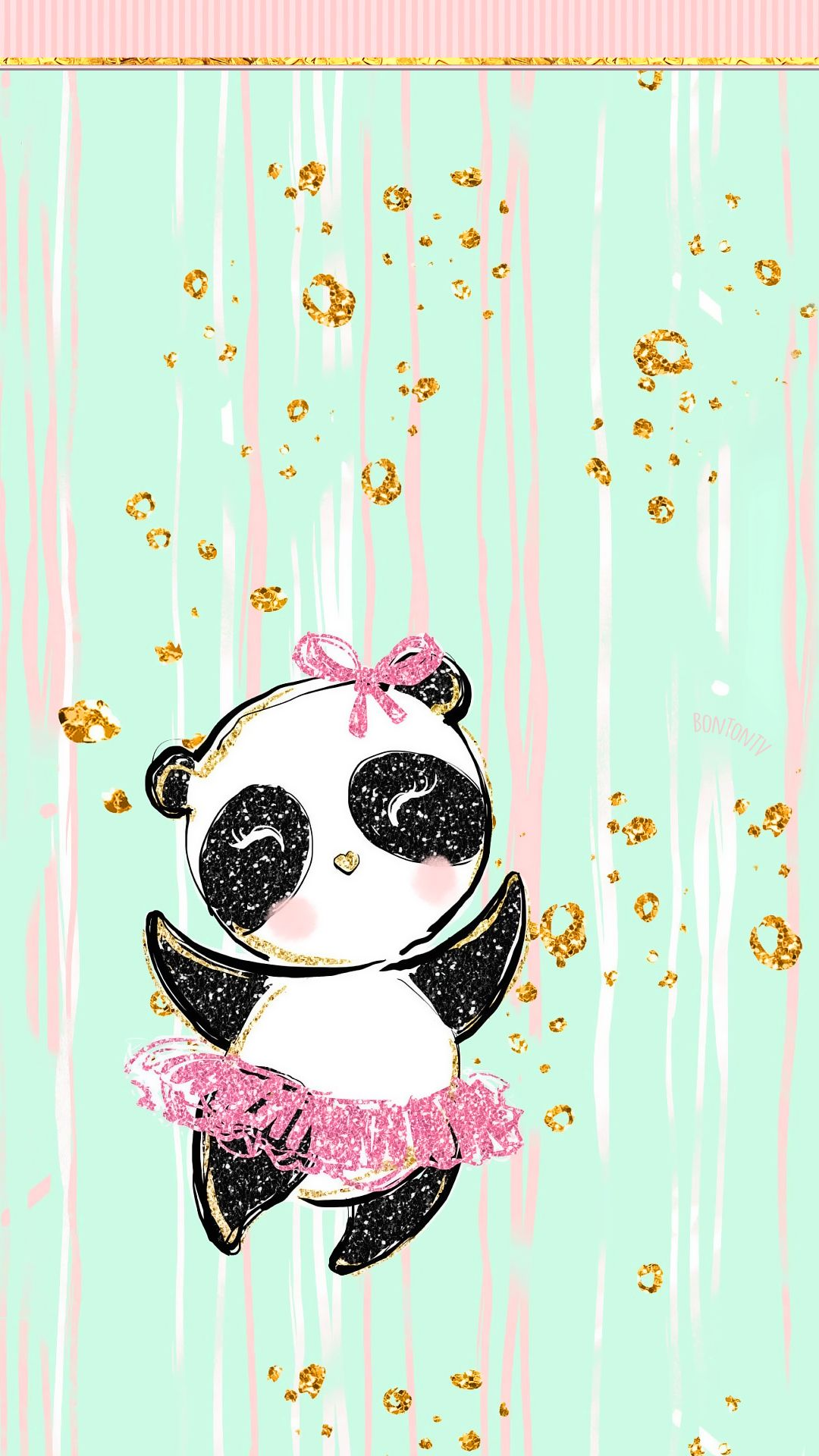 Phone Wallpapers HD Pastel Gold Cute Panda Girl by