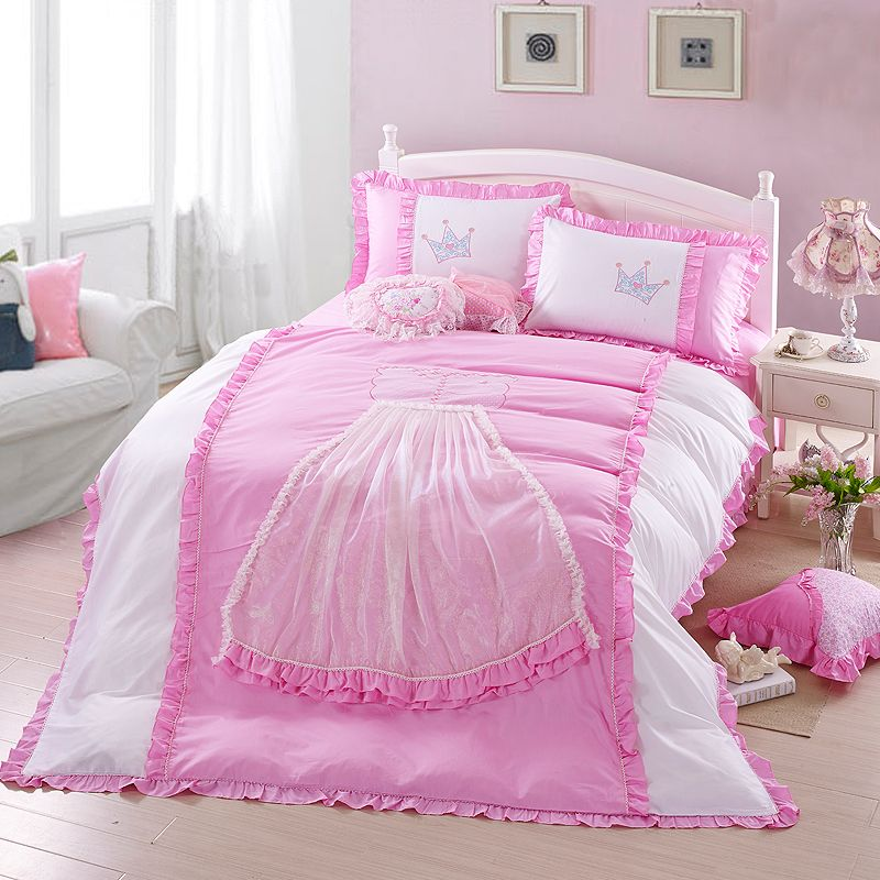 new embroidery and lace elegant fair princess cotton bedding sets for girls kids pink queen king size duvet cover 4pc set no comforter