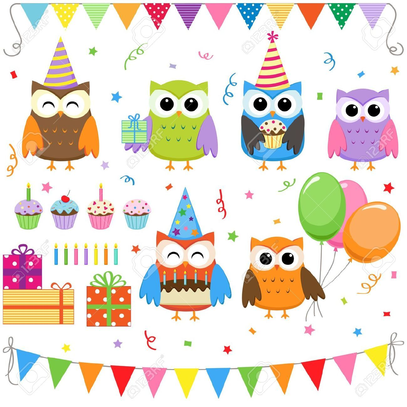 set of vector birthday party elements with cute owls royalty free