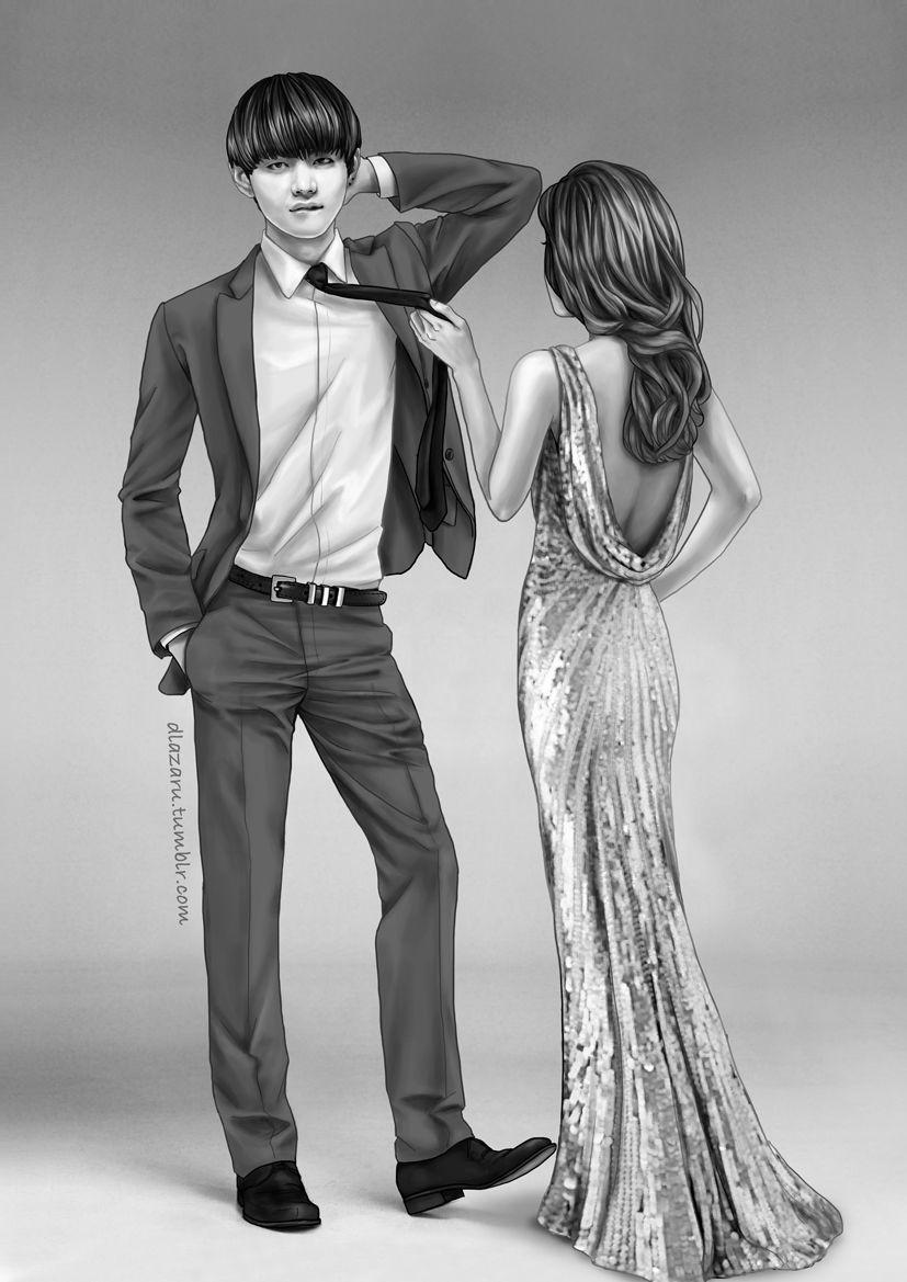 BTS Black & White Suits - V | BTS Fanart | Pinterest | Couple ...