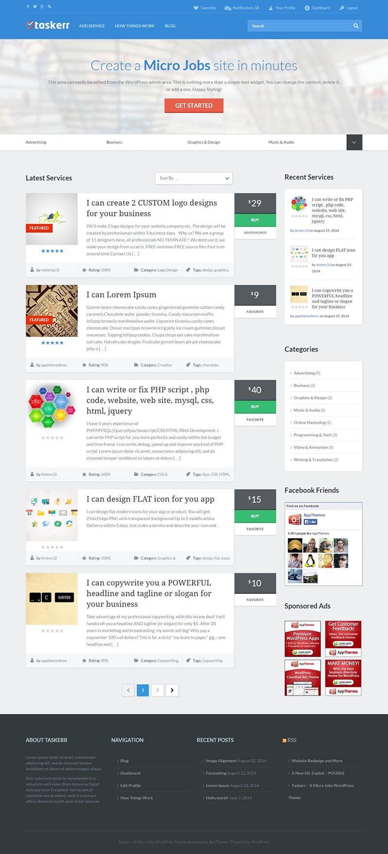 Taskerr Responsive WordPress Micro Jobs Theme Premium