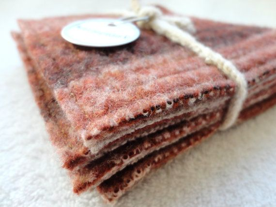Coasters RUSTY BROWN Fair Isle Upcycled Wool Mug Rugs by WormeWoole