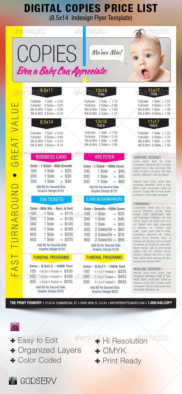 Digital Printing Price List Flyer Template – Pricing Sheet Template