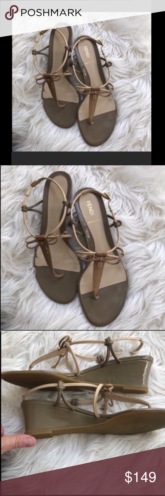 Fendi strappy neutral low wedge sandals 7 Super cute FENDI neutral sandals in very good condition.  Approx. 1.5/2in. Wedge   Bundle two or more items and automatically save 15% - use filter button to find more name brand items Fendi Shoes Sandals #lowwedgesandals Fendi strappy neutral low wedge sandals 7 Super cute FENDI neutral sandals in very good condition.  Approx. 1.5/2in. Wedge   Bundle two or more items and automatically save 15% - use filter button to find more name brand items Fendi Sho #lowwedgesandals