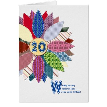 20th Birthday For Sister Stitched Flower Card