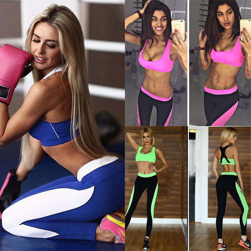 Women Yoga Set Running Bra /& Pants Gym Workout Fitness Clothes Tights Sport Wear