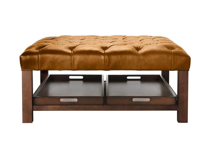 Butler Leather Tufted Ottoman Arhaus