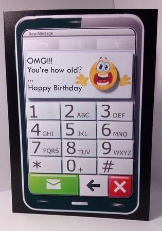 Mobile phone omg you re how old quick card on craftsuprint birthday mobile phone shaped topper which could be used in various ways bookmarktalkfo Image collections