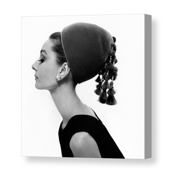 62737136d142b2 Audrey Hepburn Wearing A Givenchy Hat Canvas Print in 2019 ...