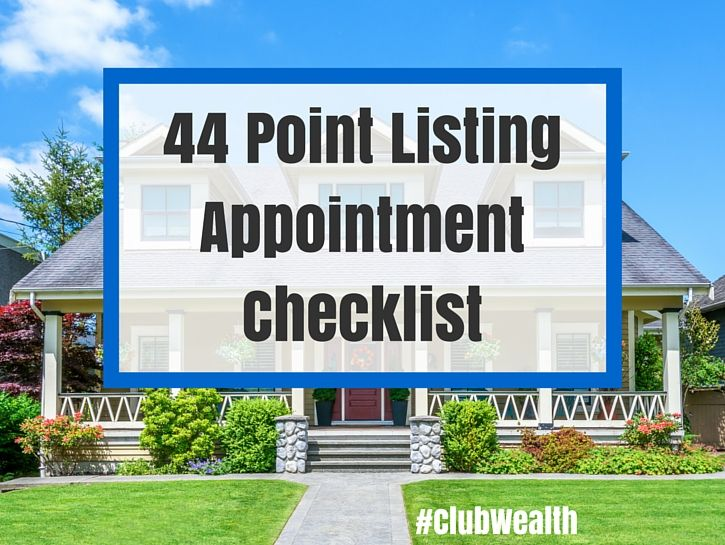the 44 point real estate listing presentation checklist, and