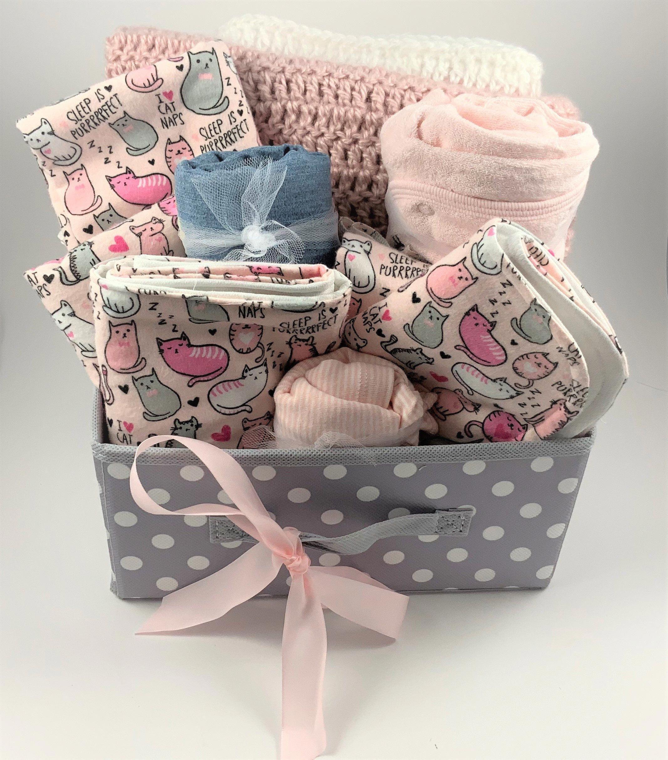 Baby Girl Gift Basket Baby Girl Kitten Burps All Handmade Etsy In 2020 Baby Girl Gift Baskets Pink Baby Gifts Baby Girl Gifts