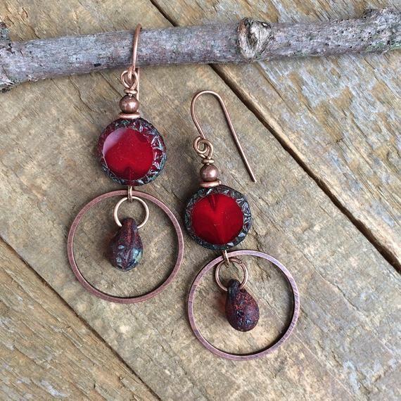 Photo of Red Boho Earrings, Bohemian Jewelry, Red Geometric Earrings, Rustic Copper Earrings, Copper Jewelry
