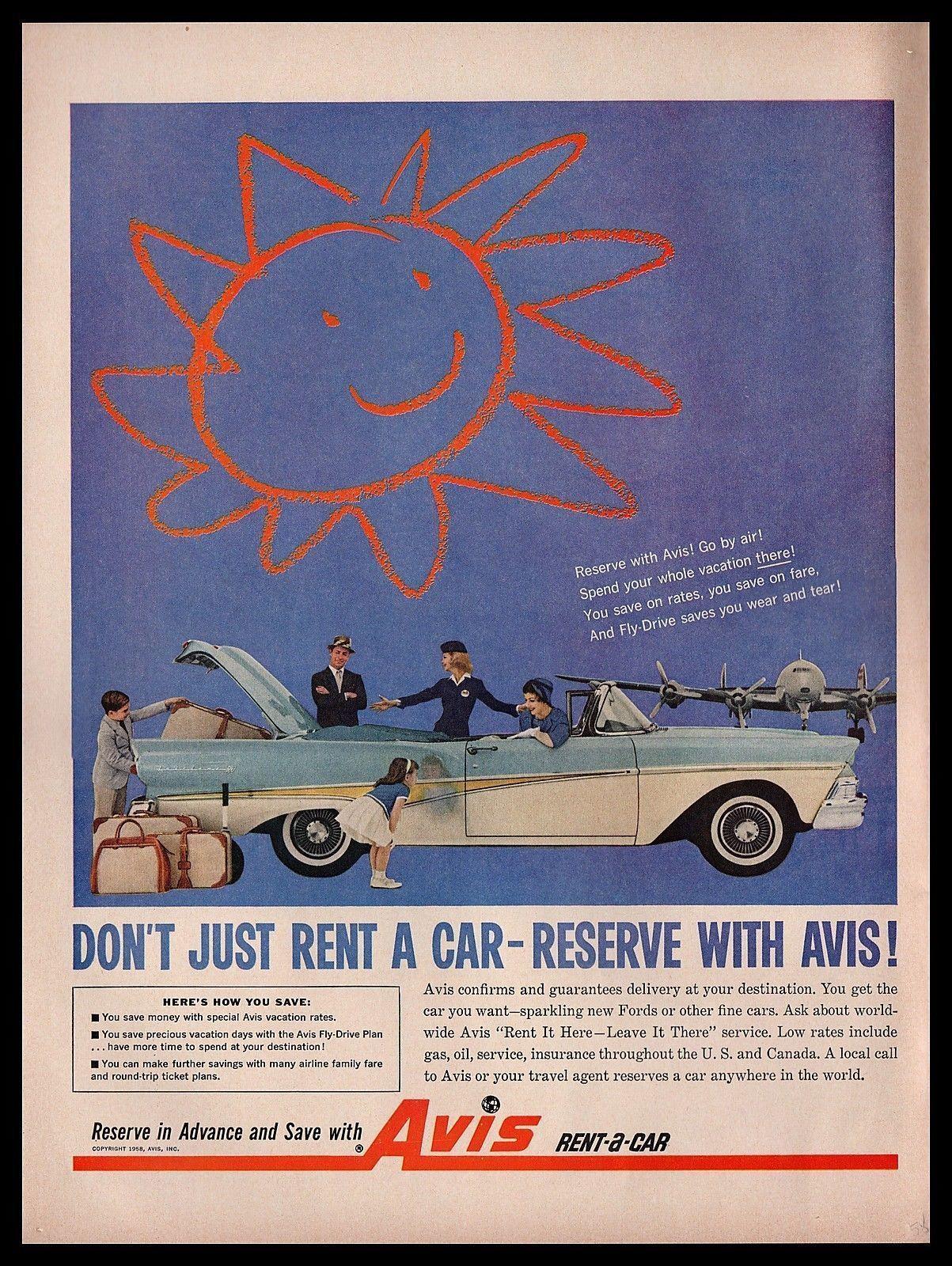 1958 Avis Rent A Car Vintage Print Ad Ford Fairlane 500