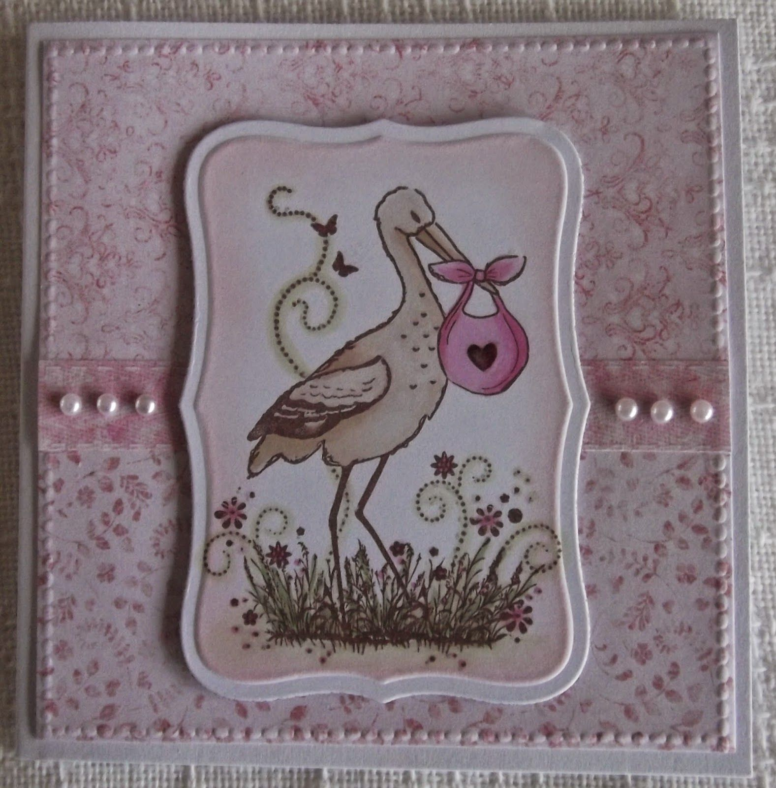 ink'n'rubba: Baby girl card with stamped image from My Paper World, papers by Nitwits.