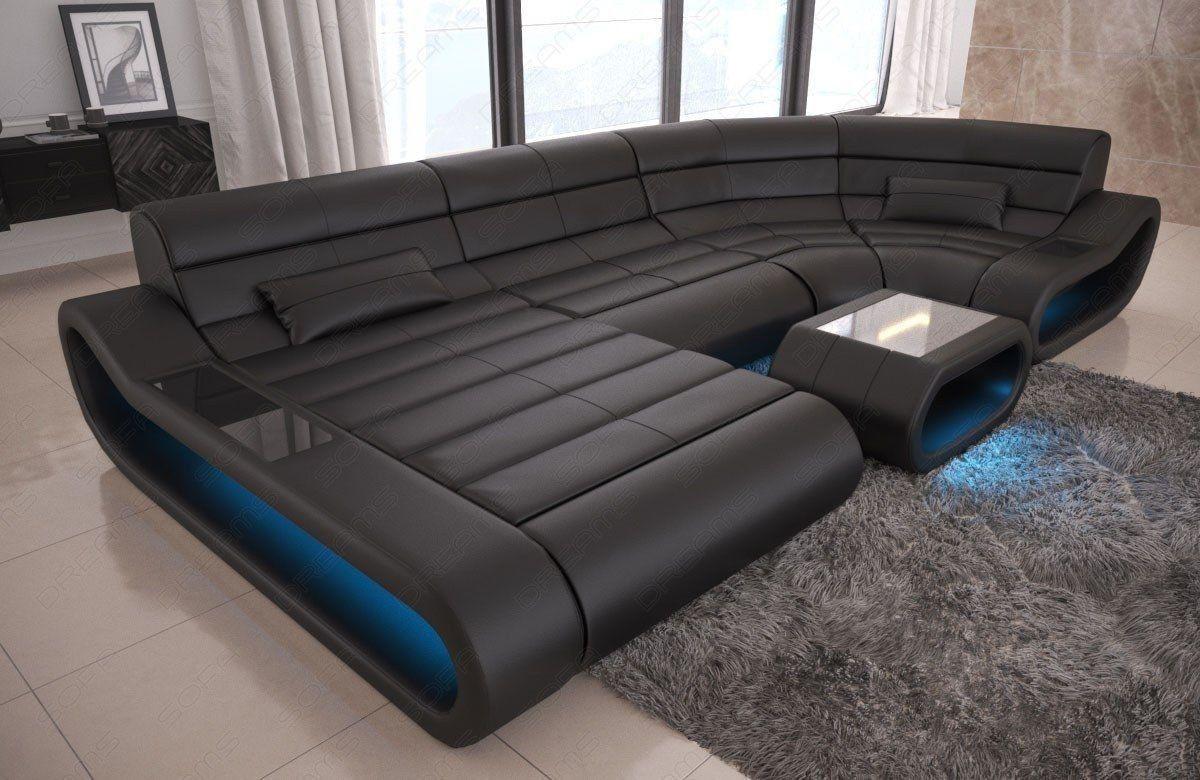 Ledersofa Concept Als U Form Wohnlandschaft Mit Ottomane Sofa Design Ecksofas Ledersofa