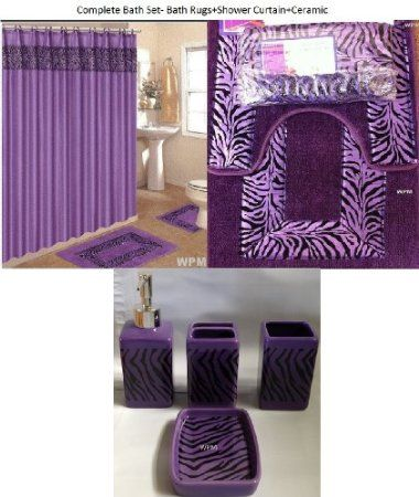 Amazon Com 19 Piece Bath Accessory Set Purple Zebra Bathroom Rugs