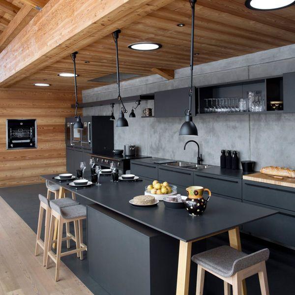 Envie de noir dans ma cuisine kitchens salons and for Cuisine melamine