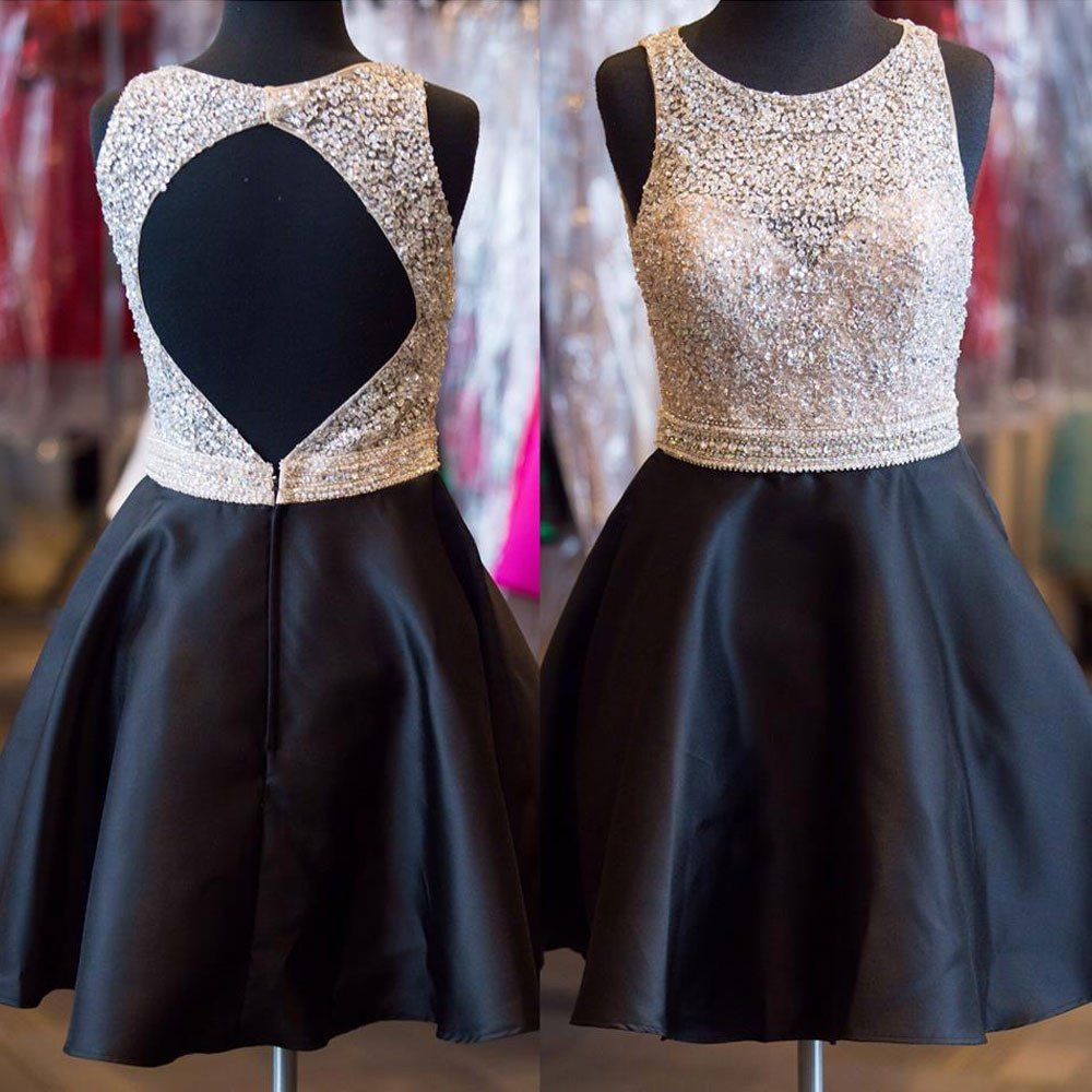 Shinny beaded bodice halter homecoming dressesblack satin short
