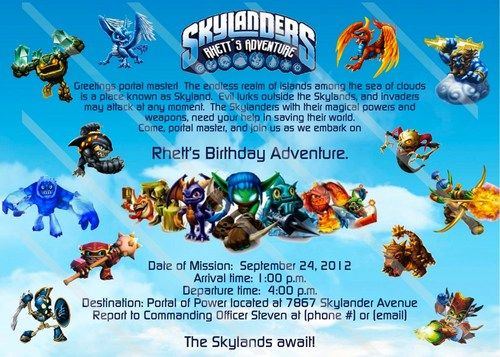 SKYLANDERS Custom Digital File Birthday Party Invitation Printable