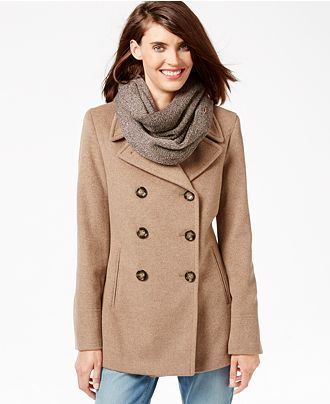 Calvin Klein Petite Wool-Cashmere Blend Peacoat with Free Infinity ...