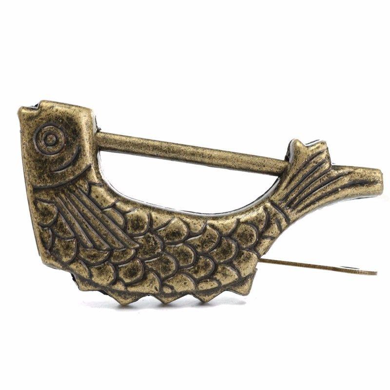 Vintage Chinese Antique Old Style Retro Brass Padlock Jewelry Box