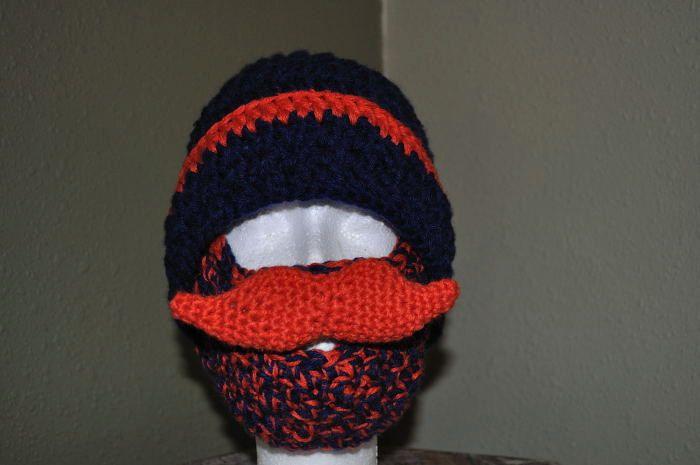 ec230b37bd2 Beard and Mustache Beanie Hat for Denver Bronco or Chicago Bear Fan s.   25.00