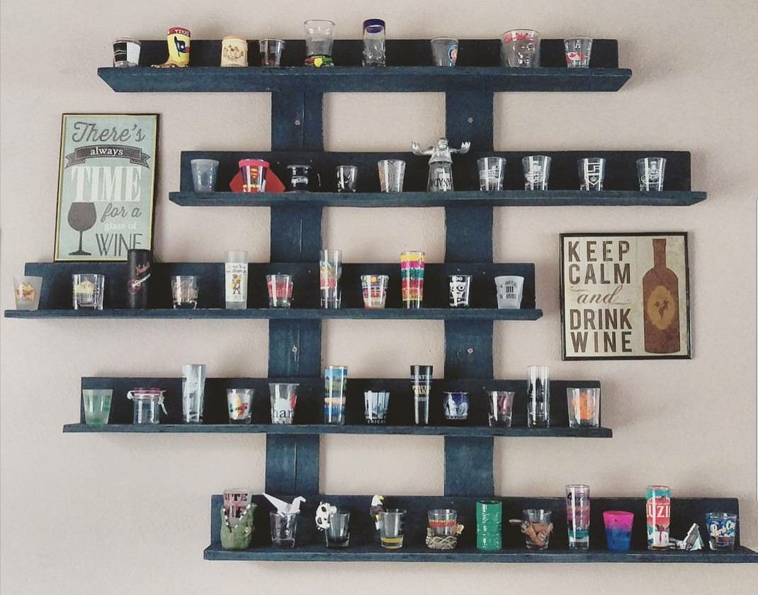 Made By Lusnyak Designs Made My Sister A Shot Glass Display For Her Collection Using Pallet Wood Painted W Shot Glass Holder Shot Glasses Display Mug Display