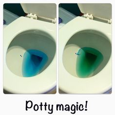 Potty Training Idea Put Blue Food Coloring In The Water When They Pee It Turns Green Potty Magic With Images Starting Potty Training Potty Training Tips Potty Training