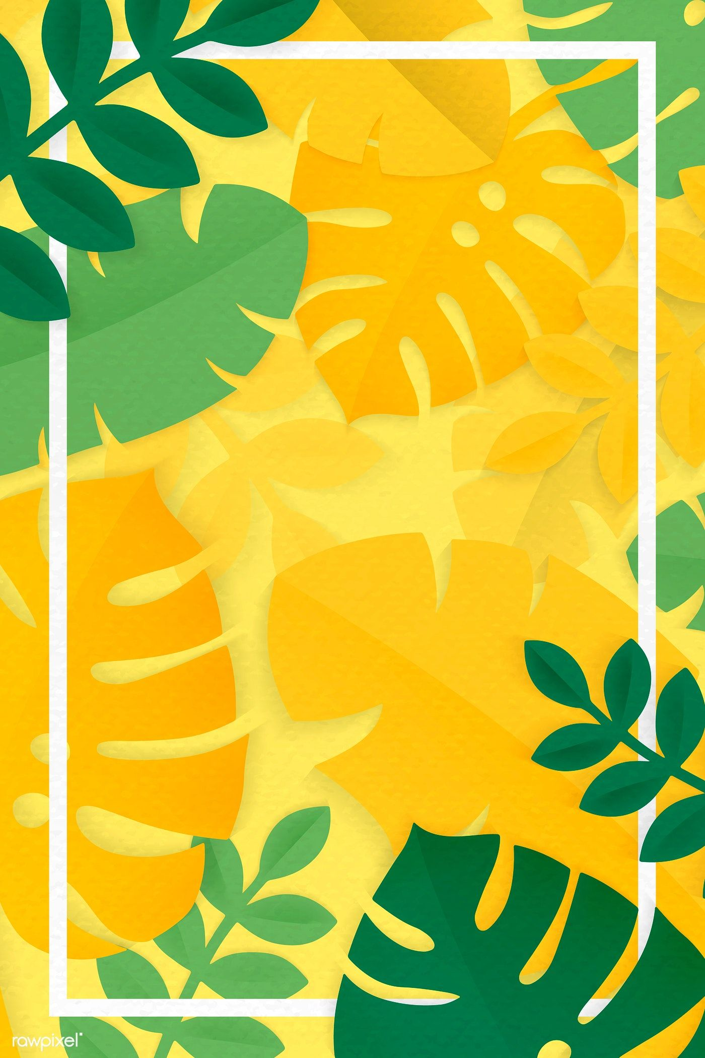 Download Premium Illustration Of White Rectangle Frame On Yellow Tropical Tropical Leaves Background Patterns Yellow Artwork Watercolor tropical plants leaves wall art canvas posters and prints minimalist painting wall new vintage pillow case yellow green leaf tropical palm ceriman watercolor home decorative cushion. pinterest