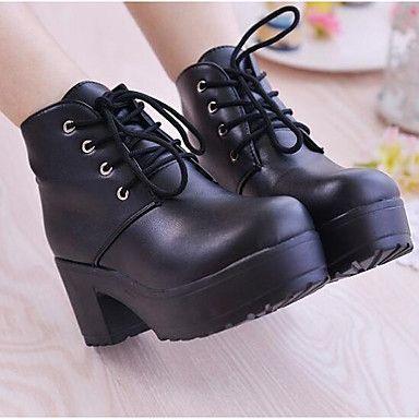 bf0efa9356e2 Femme Chaussures Cuir Nappa Hiver boîtes de Combat Bottes Gros Talon Bottine  Demi Botte Pour Décontracté Blanc Noir