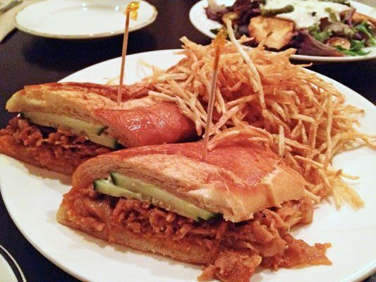 Abricott | Lake Ave | Asian Fusion-French | BYO |  Spicy Pork Belly Sandwich $9: Seared marinated Korean pork belly w/ kimchi relish & mayo on baguette w/ crispy fried potatoes