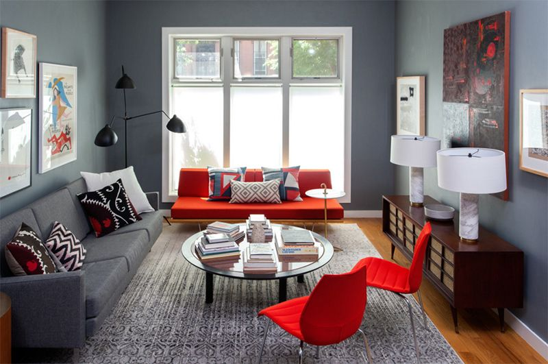 20 Red Chairs To Add Accent To Your Living Room Home Design Lover Grey And Red Living Room Living Room Red Living Room Grey