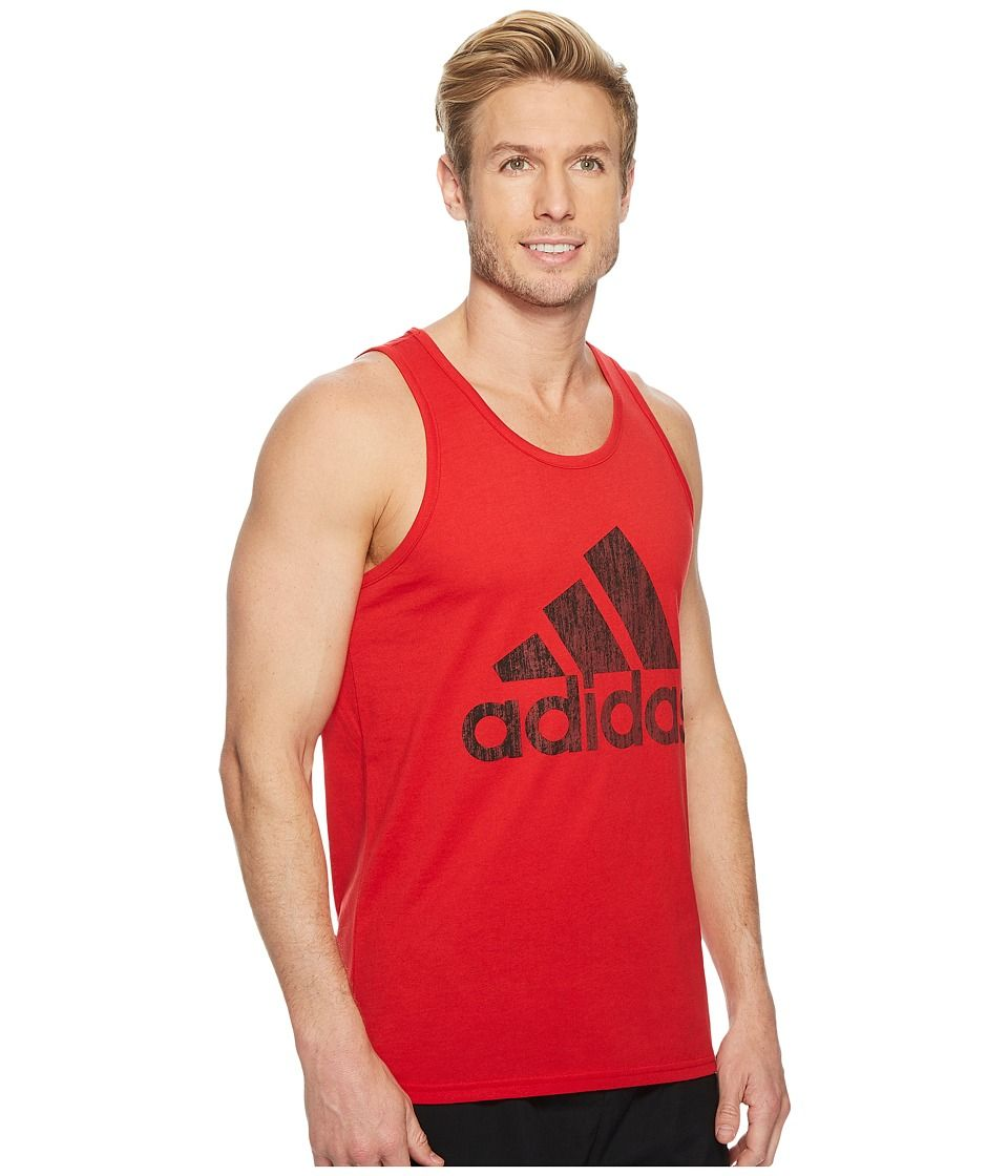 c2dc386e61f622 adidas Badge of Sport Heather Tank Top Men s Sleeveless Scarlet Black
