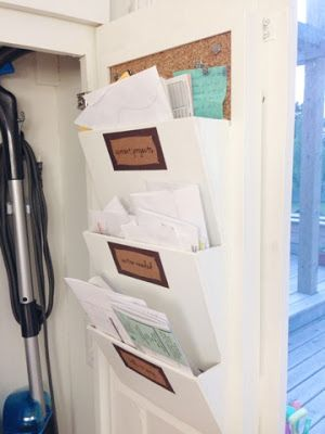 Big Plans, Little Budget: DIY Mail Organizer + Broom Closet Organization