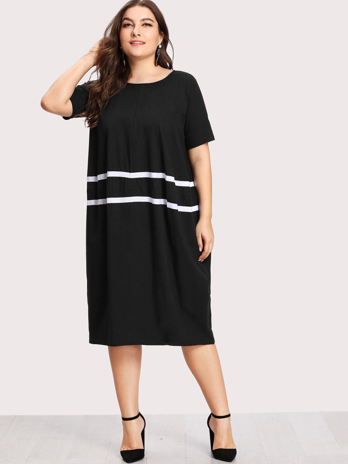 Contrast striped dress dress designs black fabric and short sleeves
