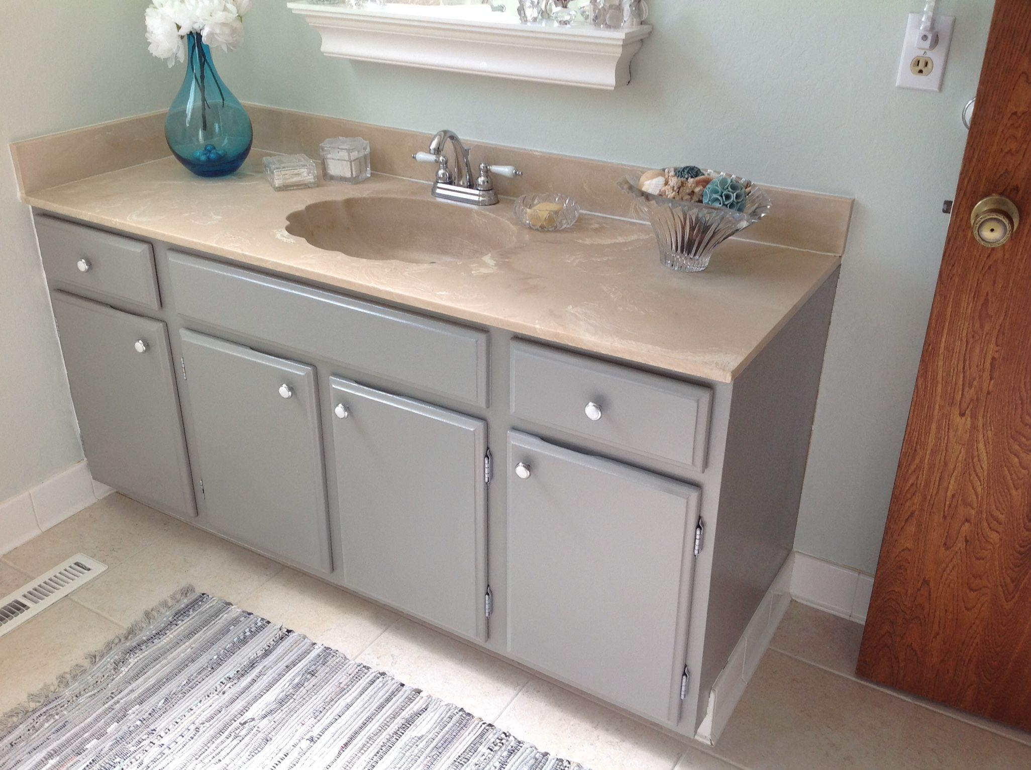 Valspar Tabby Cat Gray Update Cabinets Built In Cabinets Bathroom Update