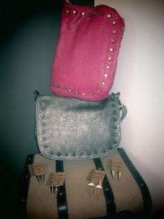 Fushia/Grey Stud bags