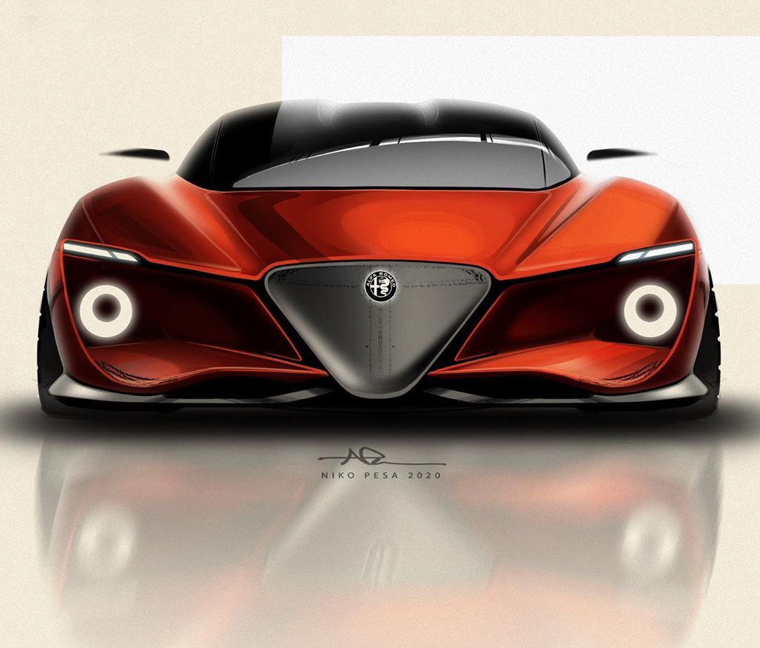 "NIKO PESA on Instagram: ""Alfa Fronts & Rears_02 . . #sketching #sportscar #granturismo #penpaperphotoshop #alfaromeo #supercar #conceptcar #cardesign #carbodydesign…"""