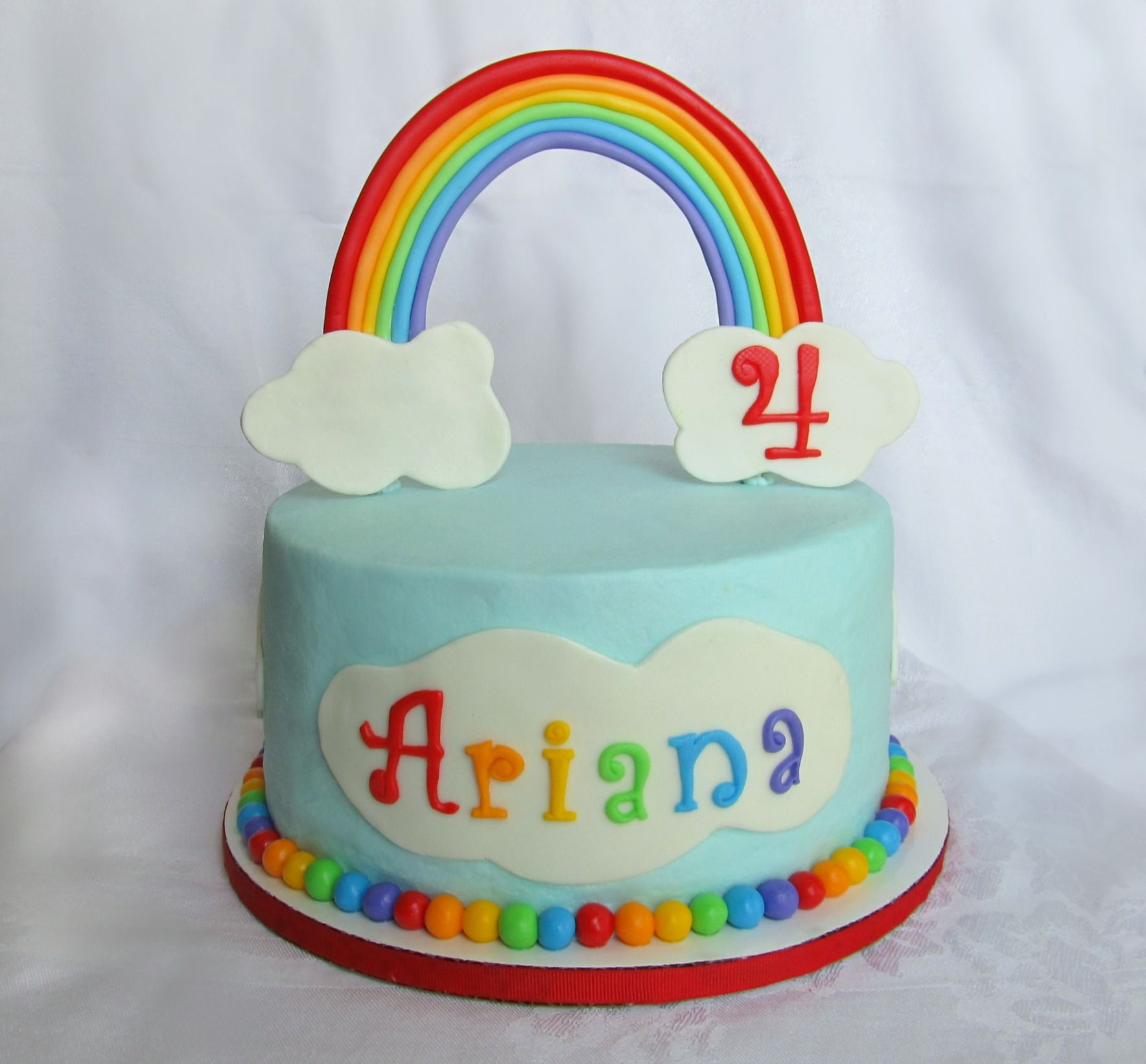 Rainbow Cake Like This But Rainbow Flat Puffy On Top Of The Cake