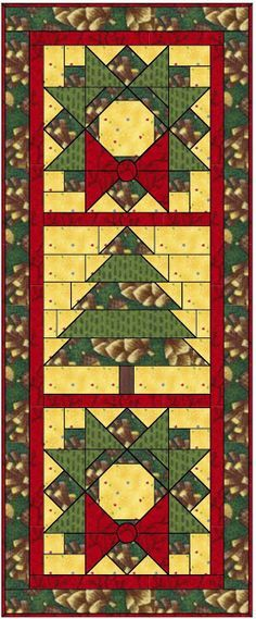 Free Pattern For A Christmas Wreath And Tree Quilt Could Be A Wall Hanging Or A Table Runner Holiday Quilts Christmas Quilt Blocks Christmas Quilts