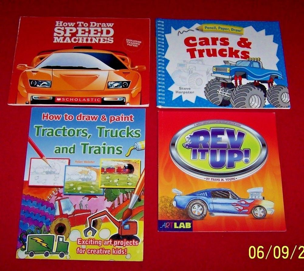 4 Car Truck Tractors Books Design Your own Car How to Draw Ages 8-12 ...