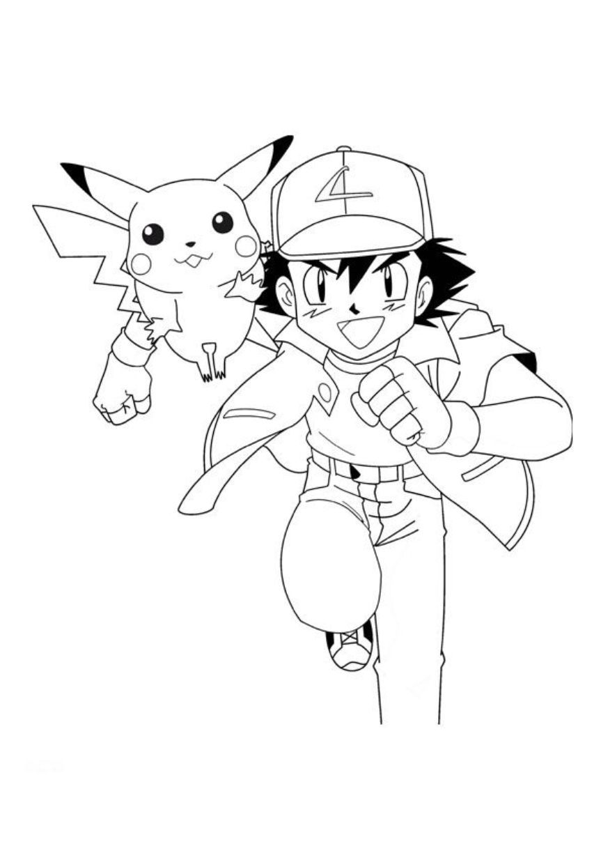 Great Ash And Pikachu Coloring Page
