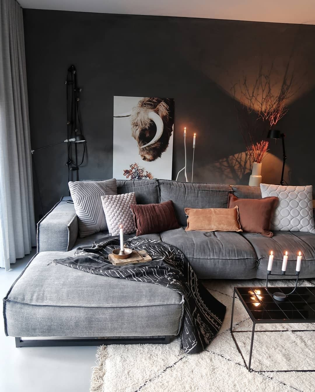 69 Fabulous Gray Living Room Designs To Inspire You: This Living Room Is Rich Combination Of Materials And