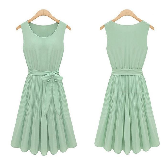 Vintage Scoop Neck Bow Sleeveless Pleated Chiffon Women's A-Line DressVintage Dresses | RoseGal.com