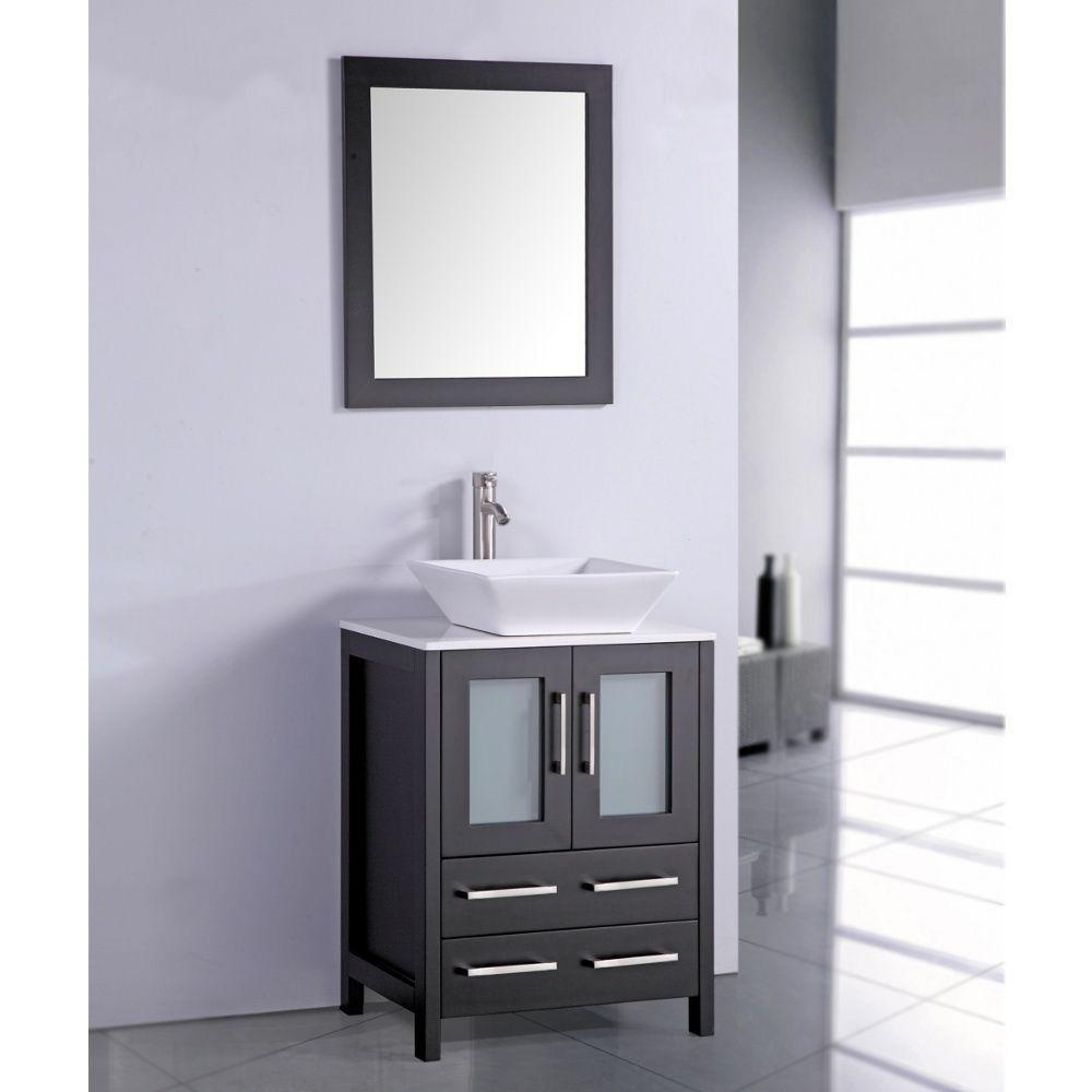 White Artificial Stone Top 24-inch Vessel Sink Espresso Bathroom ...