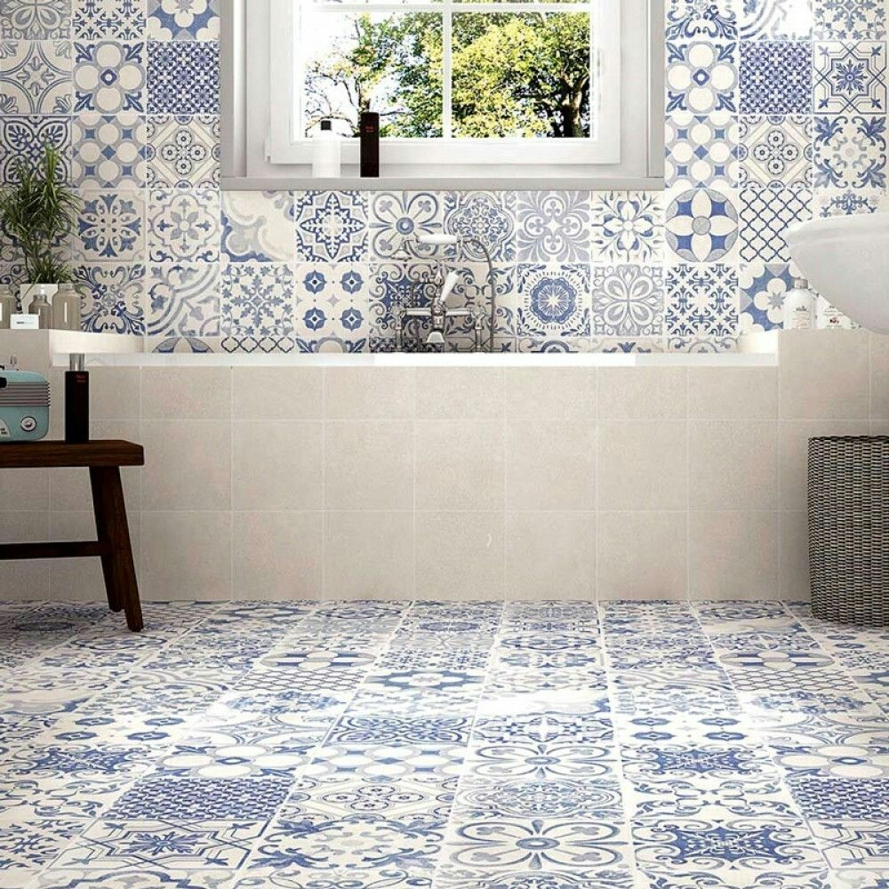 Morroccan Blue and White Tiles | bathroom | Pinterest | White tiles ...